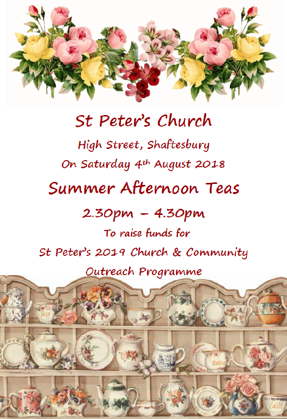 Summer Afternoon Tea at St Peter's – Saturday 4th August 2:30pm