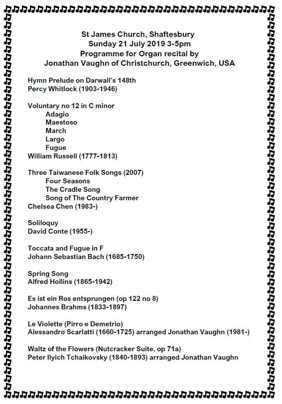 Organ Recital at St James' – 21st July