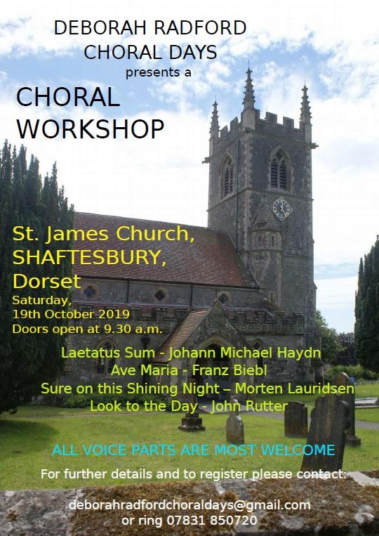 Choral Workshop at St James' – 19th October