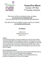 Team Resources for Sunday 24th May