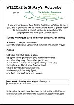 Pew Sheet 4th Aug 2013