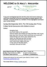 Pew Sheet 22nd Sep 2013